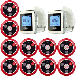 Coffee Shop Server Food Pager System 999ch 2 wrist Watch Receiver 10 call Button