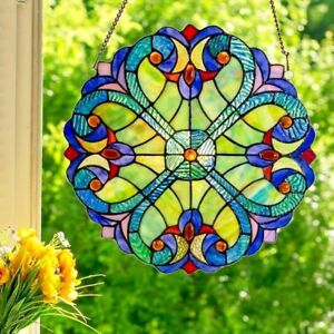 Tiffany Style Stained Glass Window Panel Multi Colors Round 12 Diameter