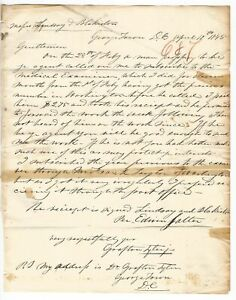 Doctor Grafton Tyler Georgetown Washington D C Letter 1845 Medical History