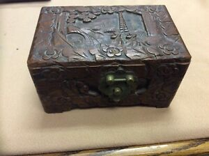 Vintage Hand Carved Hinged Wooden Box