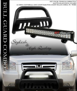 Matte Blk Bull Bar Guard 120w Cree Led Light For 03 08 Honda Pilot 06 Ridgeline