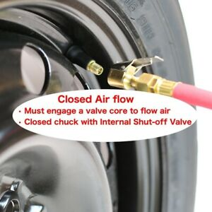 New2pack Closed Type Flow Straight Lock On Air Chuck With Clip For Tire Inflator