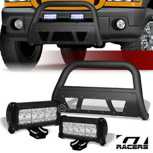 98 11 Ford Ranger Matte Blk Studded Mesh Bull Bar Guard 36w Cree Led Fog Lights