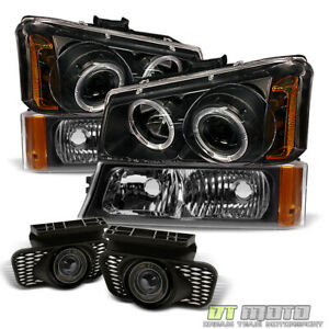 2003 2006 Silverado Black Projector Headlights bumper Singal halo Fog Lamps