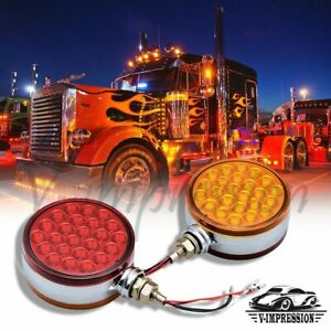 Pair Red Amber 4 Round Dual Face 48 Led Pedestal Lights Reflector Turn Signal