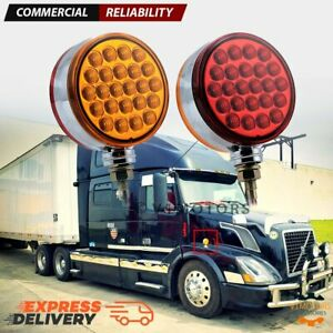 2pcs Red amber Round Led Pedestal Side Marker Light Lamp Dual Face Turn Signal