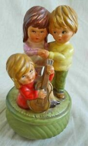 Music Box Japan Vintage Antique Pottery Children Guitar All Ceramic Hava Nagila