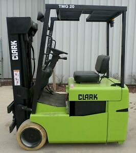 Clark Model Tmg20 1999 4000lbs Capacity Great 3 Wheel Electric Forklift