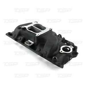 Chevy Big Block Carbureted Black Aluminum Dual Plane Intake Manifold