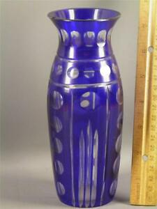 Antique Bohemian Czech Blue Cut To Clear Glass Vase