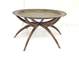 Vintage Brass Charger Coffee Table Mid Century Plant Stand Folding Splayed Legs