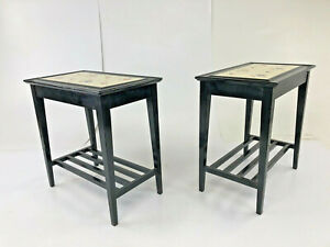 Vintage Tile Top Side Table Pair End Tea Wood Wooden Plant Stand Mid Century 50s