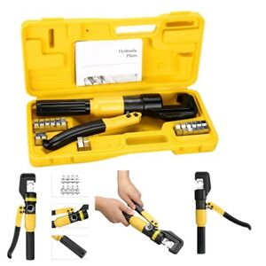 10ton Hydraulic Crimper Crimping Tool 8 Dies For Wire Battery Cable Lug Terminal