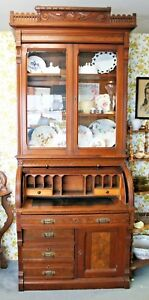 Old Antique 1880 S Carved Roll Top Cylinder Secretary Desk Bookcase