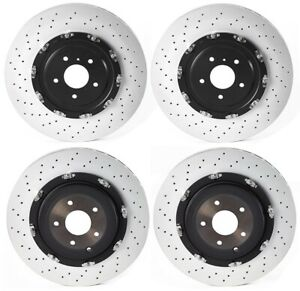 Front Rear Uv Coated Brake Disc Rotors Floating Set Brembo Kit For Nissan Gt R