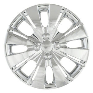 Four 15 Chrome Hub Caps Wheel Rim Covers Snap On For 06 15 Toyota Yaris