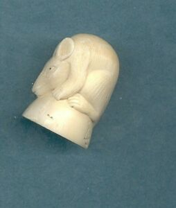 Superb Sleeping Rat Netsuke Hand Carved Figurine Estate Item 760 B