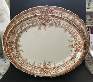 Set Of 2 Beautiful Antique Brown Oxford Transferware Ironstone Platters