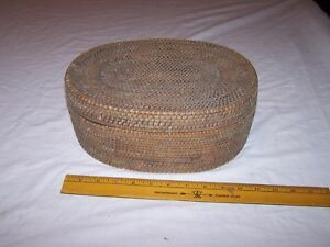Antique Vintage Oval Basket With Lid Estate Find Coil