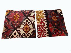 Superb Old Tribal Konya Kilim Pillows Cover 16 By 16 Pair