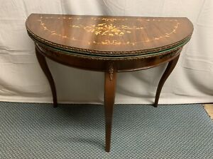 Vintage Italian Inlayed Game Side Entry Table