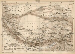 Tibet Authentic 1889 Map Showing Chaidam Kham Other Regions W Topography