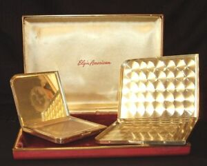 Antique Sterling Silver Elgin American Cigarette Case Powder Box Set In Orig Box