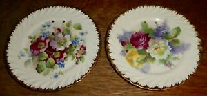Antique 2 Artist Signed Victorian Purple Burgundy Floral Plates 6 5 Clara E Po1