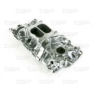Chevy Small Block Carbureted Polished Aluminum Dual Plane Intake Manifold