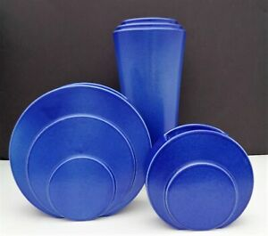 Lot Of 3 Stunning Trenton Tac Vases In Deep Blue Glaze