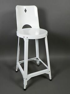 Vintage 1950 S Metal White Enamelware Bar Counter Stool 20 Seat Height
