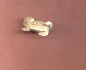 Monkey On Turtle Ojime Bead Hand Carved Japanese Miniature Figurine 667 B