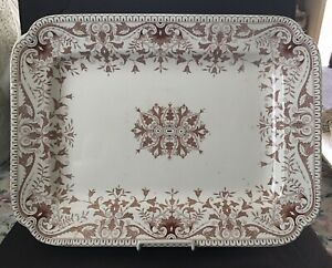 Gorgeous Antique Tr Boote Brown Transferware Ironstone 18 Platter Staffordshire