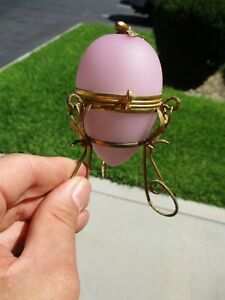 19th Cent French Victorian Pink Opaline Egg Glass Ormolu Perfume Casket Bottle