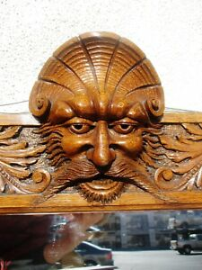 Large Victorian Solid Oak Horner Carved Greenman Mirror W Coat Hooks