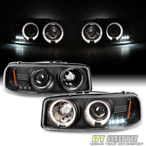 1999 2006 Gmc Sierra Yukon Denali Led Halo Black Projector Headlights Headlamps
