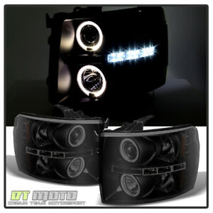 Blk Smoke 2007 2014 Chevy Silverado 1500 2500 3500 Led Halo Projector Headlights