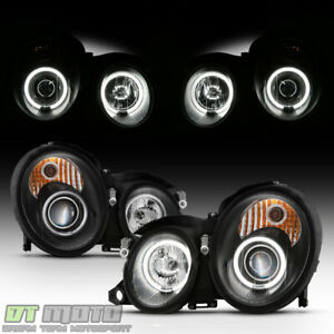 Black 1998 2002 Mercedes Benz W208 Led Ccfl Halo Projector Headlights Left Right