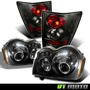Black 2005 2006 Jeep Grand Cherokee Projector Headlights Tail Lights Lamps 05 06