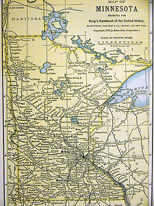 Map Of Minnesota From The King S Handbook Of The United States 1892 Matted