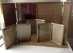 Vintage Picture Frame Bifold Brass Gold Lot Of 6