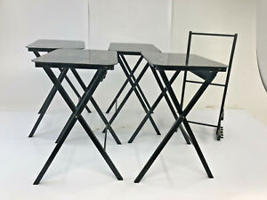 Vintage 4 Tv Tray Tables Set Wood Mid Century Modern Stand Carrier Serving Black