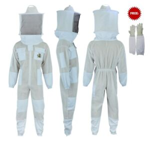3 Layer Bee Suit Ultra Ventilated Beekeeper Beekeeping Suit Round Veil 4x large