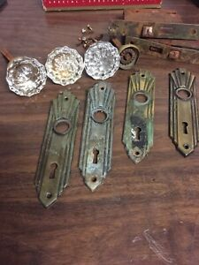 Lot Antique Vtg 12 Pt Glass Door Knob Set Brass Escutcheon Mortise Knobs Sets