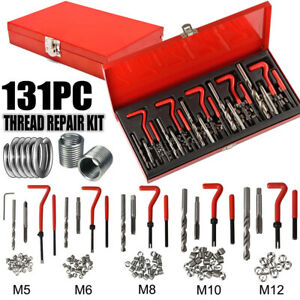 131pcs Helicoil Stripped Thread Rethread Repair Kit Metric Set Case M5 6 8 10 12
