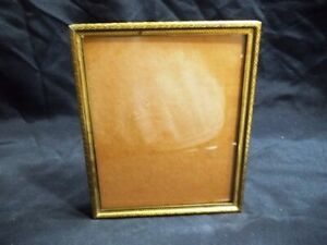 Vintage Gold Tone Metal 8x10 Picture Frame Glass Included Attached Easel