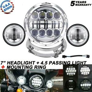 4 5 Passing Lights Halo Motorcycle7 Led Headlight Fit Harley Breakout