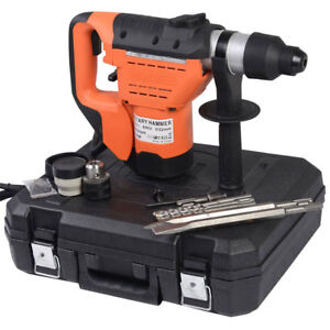 New 1 1 2 Sds Electric Rotary Hammer Drill Concrete Chisel Kit W Bits Variable