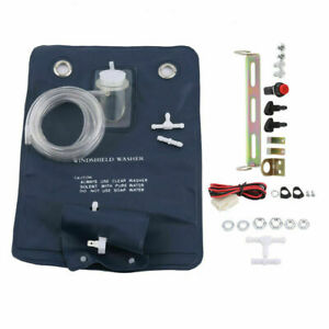 Classic Car Auto Windshield Washer Pump Bag Kit Jet Button Hose 12v Universal Us