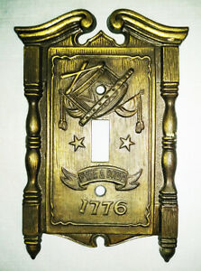 1968 American Tack Hardware Co Brass Switch Plate Cover Fyfe Drum 1776